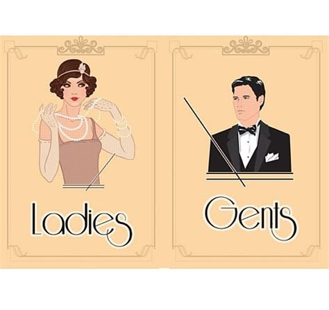 ladies and gents bathroom signs 1920 s themed toilet signs ladies gents 163 1 50