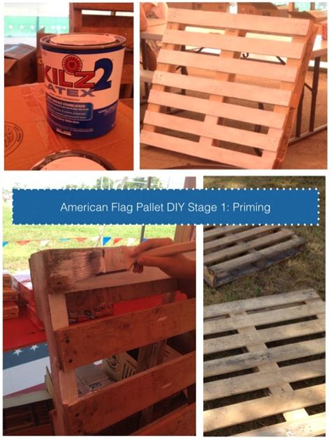 i m just now starting my next project the american flag on a pallet we are using kilz primer