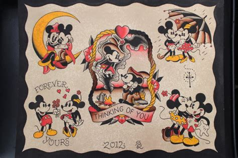 mickey mouse tattoo for couples wonderful old school mickey and minnie mouse couple tattoo