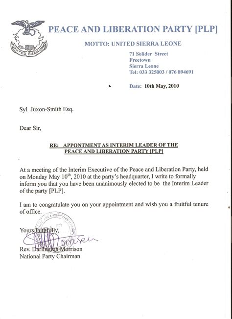 sample letter of appointment for a chapel fund account custodian