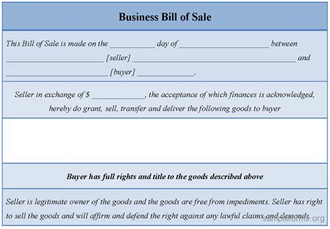 bill of sale for business template sle business bill of sale form sle forms