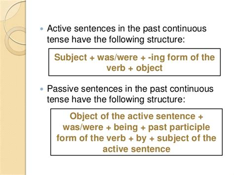 pattern of simple past active and passive past continuous tense active passive voice