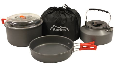 kitchen pots andes portable cing anodised aluminium cookware set pots pans kettle kitchen