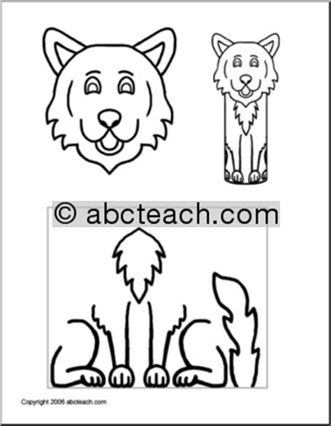 wolf puppet template craft paper roll pal wolf preschool primary abcteach