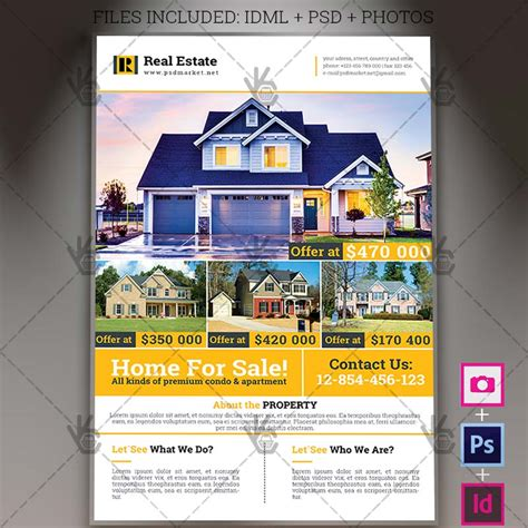 real estate flyer templates for photoshop real estate a4 flyer psd template indesign psdmarket