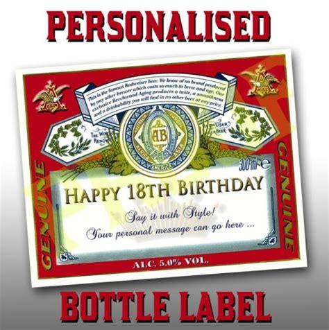 printable budweiser label personalised budweiser labels x 6 birthdays parties