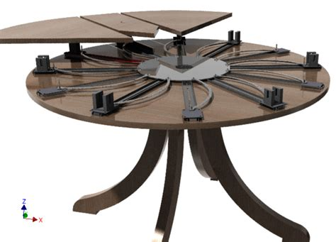 expanding table mechanism self expanding round table 3d cad model grabcad