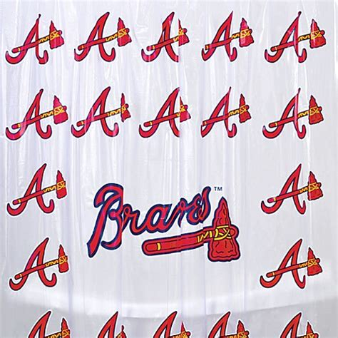 atlanta braves shower curtain mlb atlanta braves pvc frosted shower curtain bed bath