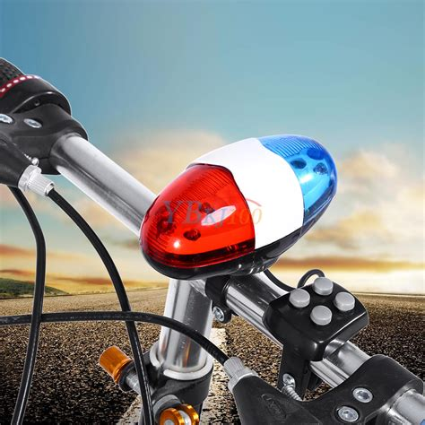 police bicycle lights and siren 4 sounds 6 led electric horn bell police car siren light