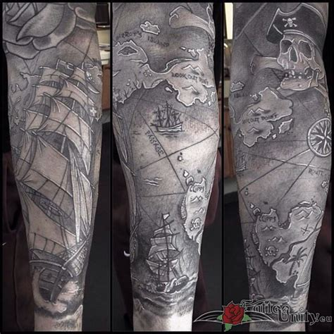 map tattoo sleeve 40 pirate tattoos on sleeve