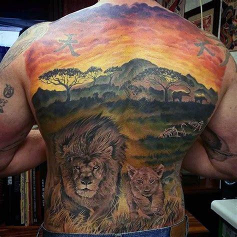 safari tattoo 50 back designs for masculine big cat