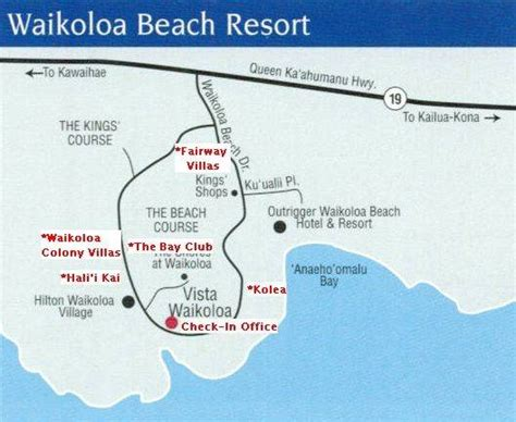 waikoloa resort area map vista waikoloa check in directions maps