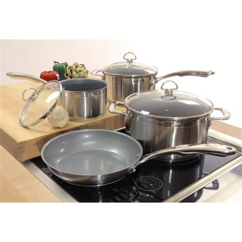 ceramic induction pan set chantal induction 21 steel 7 ceramic non stick cookware set in stainless steel slin 7c