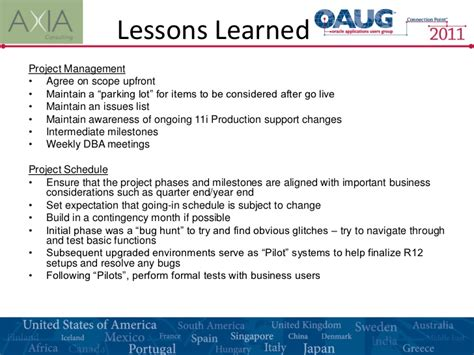 lessons learned best practices template oracle r12 upgrade lessons learned