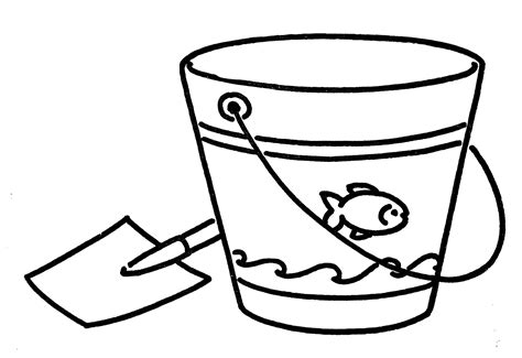 water pail coloring page vintage line art shovel and pail the graphics fairy