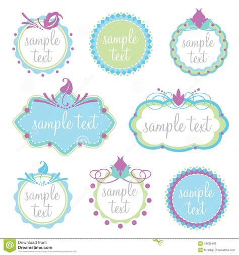 pretty label templates set of decorative frames stock vector image of editable