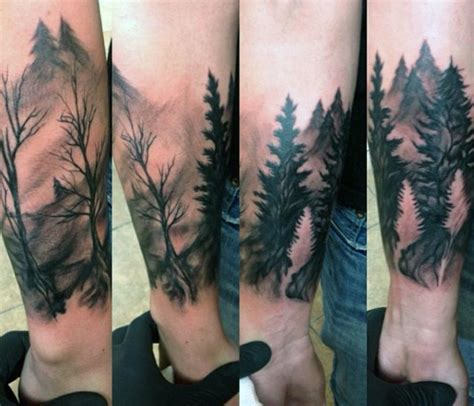 wilderness tattoos 70 pine tree ideas for wood in the wilderness
