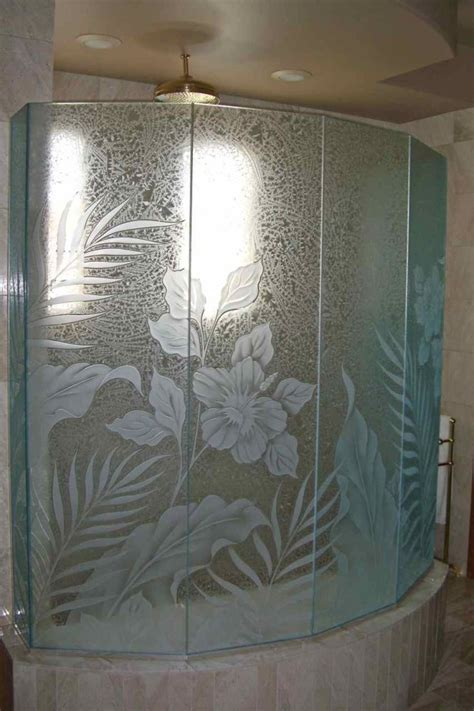 Glass Block Designs For Bathrooms by Hibiscus Paradise Glass Shower Etched Glass Tropical Style