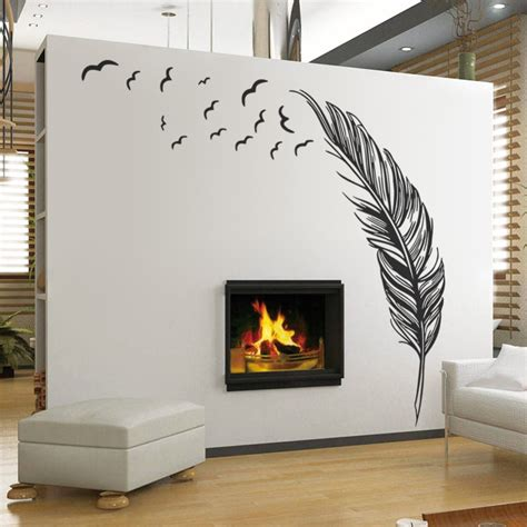 home wall decorations large feather plant living room sticker 3d wall stickers