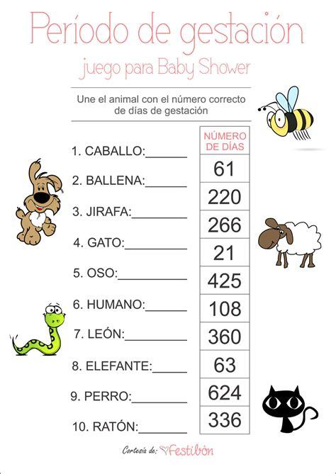 Juegos Par Baby Shower by Per 237 Odo De Gestaci 243 N De Los Animales Juegos De Baby Shower
