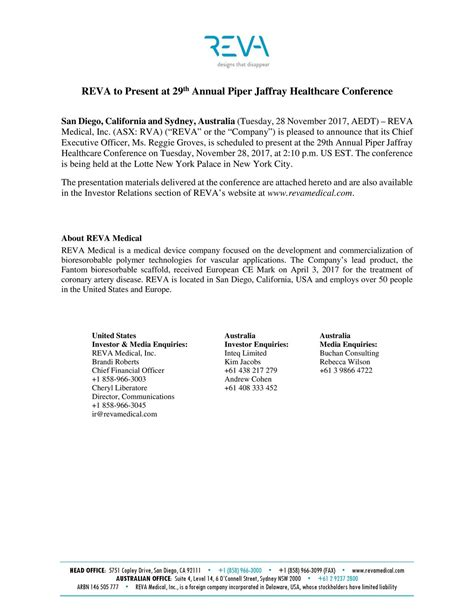 section 3 affray reva medical rvall presents at piperjaffray 29th annual