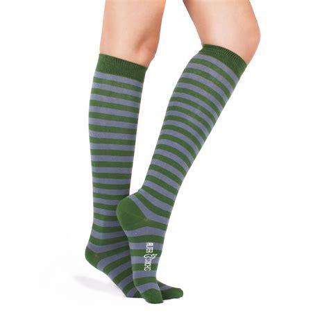 Striped Knee High Socks striped knee high socks green gray altersocks ალტერსოქსი