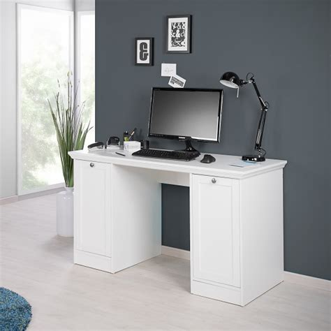 Country Modern Computer Desk In White With 2 Doors 28290 Country Computer Desk