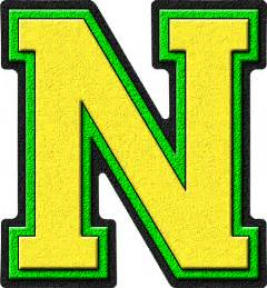 presentation alphabets yellow green varsity letter n