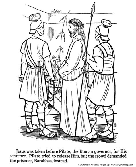 coloring pages jesus before pilate easter bible coloring pages jesus taken before pilate