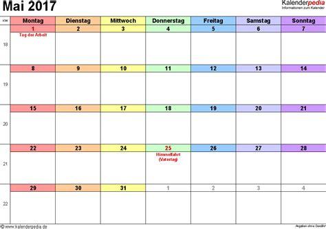 Mai Kalender 2017 Kalender Mai 2017 Als Pdf Vorlagen