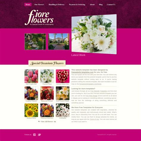free html shop template flower shop website template free website templates