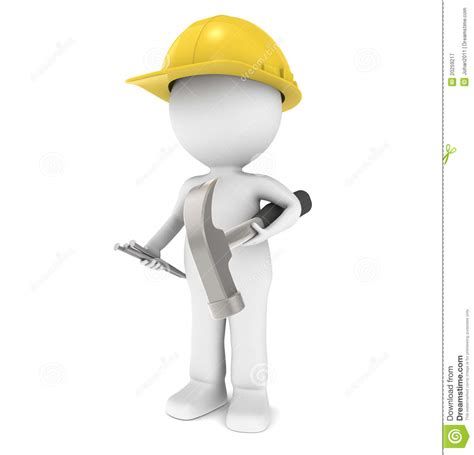 House Builder Program 3d little human character the builder stock illustration