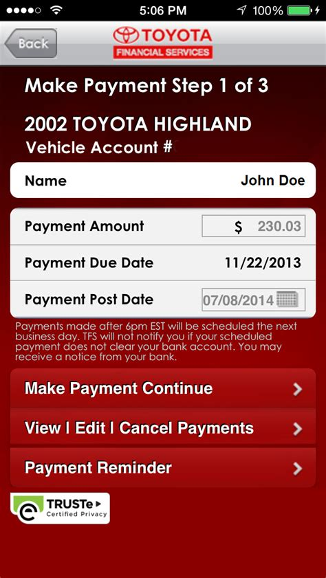 toyota financial services mytfs toyota financial services app insight download