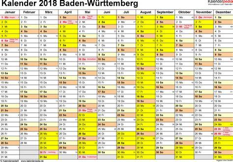 Kalender 2018 Feiertage Ferien Bw Kalender 2018 Baden W 252 Rttemberg Ferien Feiertage Word