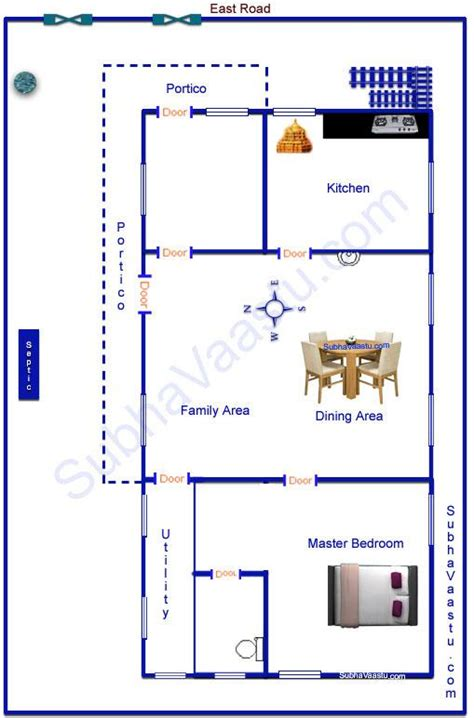 East Facing House Vastu Plan East Facing Vaastu Home Plan Subhavaastu