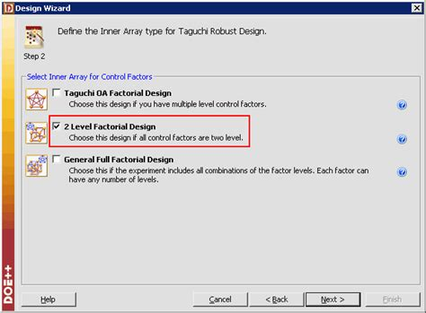 Inner Arrafi taguchi robust design for product improvement