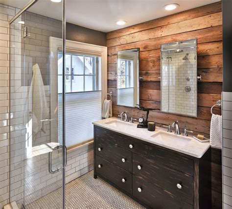 Staining wood paneling bathroom rustic with white subway tile traditional vanities tops