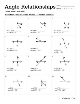 Line And Angle Relationships Worksheet Answers by Angle Relationships Worksheet By Teachers Pay Teachers