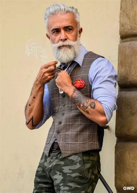 mensclothing styles for a 55 year old man silver haired tattooed and bearded italian man alessandro