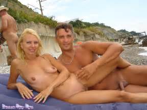 pair of nude nudists filmed on the beach