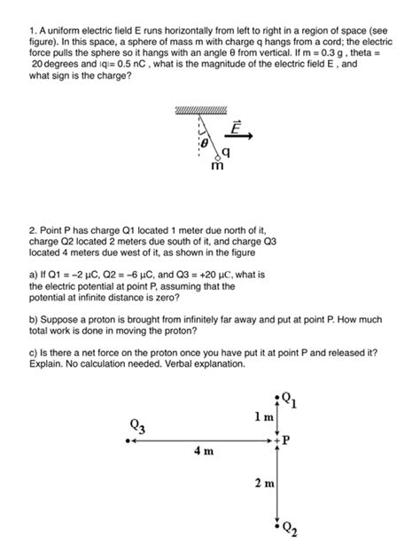 1 a uniform electric field e runs horizontally fr