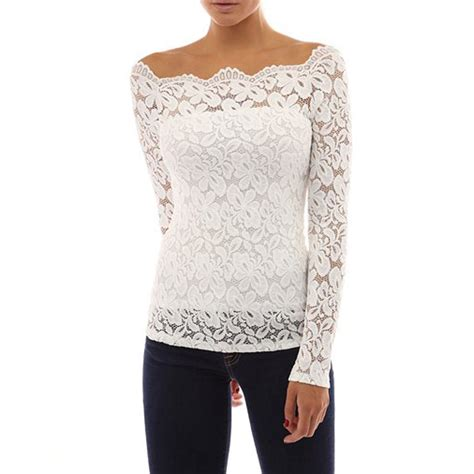 cocktail tops womens shoulder floral lace blouse shirt evening