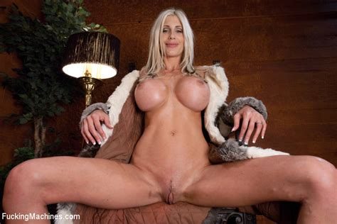 blonde With huge Round boobs And Shaved Pussy Rides The Sybian With Passion