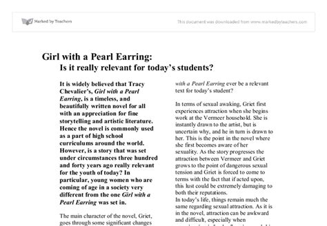 With A Pearl Earring Essay by With A Pearl Earring Essay Que