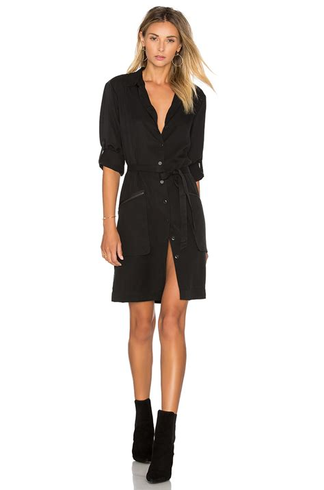 atm belted shirt dress in black lyst