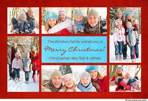 blue collage card photos winter family vacation
