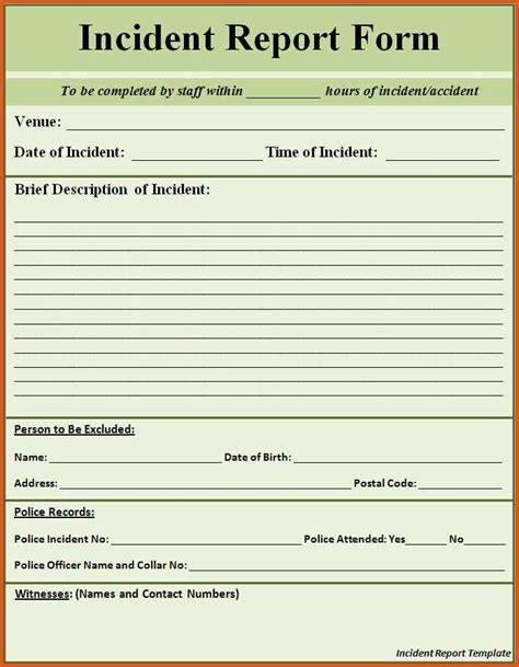 sles of incident reports for employees employee incident report general resumes