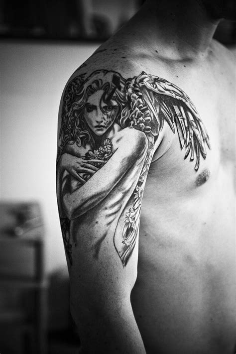 tattoo ink angels angel girl grey ink tattoo on right shoulder