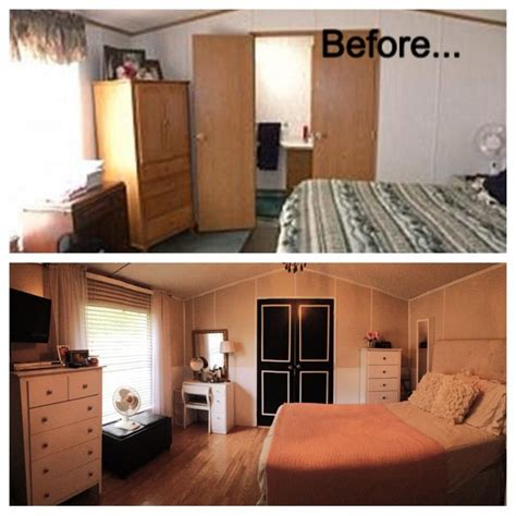 before and after single wide trailer manufactured mobile home renovation remodel wall color is