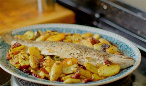 nadiya s food adventure 120 fresh easy and enticing new recipes books nadiya hussain baked sea trout with potatoes lemon and